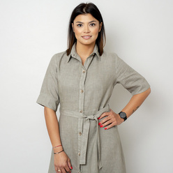 Long canvas dress in khaki color 10788, Willsoor