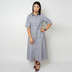 Long canvas dress in grey color 10789, Willsoor