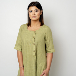Long canvas dress in olive color 10791, Willsoor