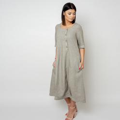 Long canvas dress in khaki color10792, Willsoor
