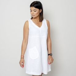 Short white dress with a pocket 10793, Willsoor