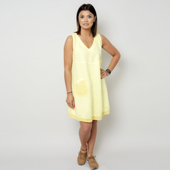 Short lemon dress with a pocket 10794, Willsoor