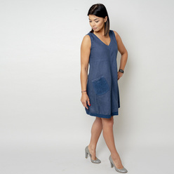 Short dark blue dress with a pocket 10795, Willsoor