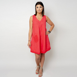 Short coral dress with a pocket 10796, Willsoor