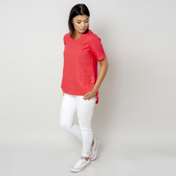 Women's canvas blouse in coral 10799, Willsoor