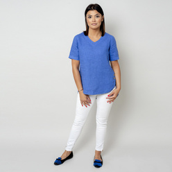 Women's canvas blouse in blue 10801, Willsoor