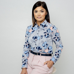 Women's grey shirt with floral print 10802, Willsoor