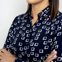 Women's shirt dark blue color with white pattern 10805, Willsoor