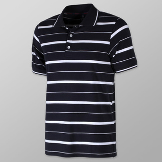 Men's polo shirt with white striped pattern 10809