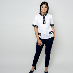 Women's white t-shirt with embroidered pattern 10831, Willsoor