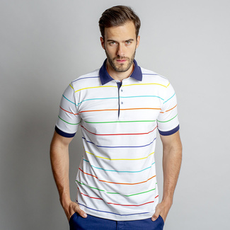 Women's polo t-shirt with colorful striped pattern 10847, Willsoor