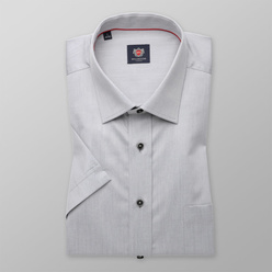 London shirt in grey with contrast buttons (height 176-182) 10849, Willsoor