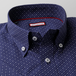Slim fit shirt in dark blue with dots  (height 176-182) 10858, Willsoor