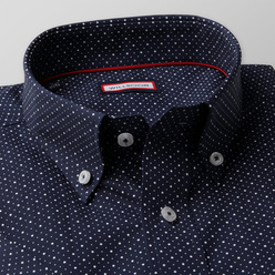 Slim Fit shirt in dark blue with a pattern  (height 176-182) 10860, Willsoor