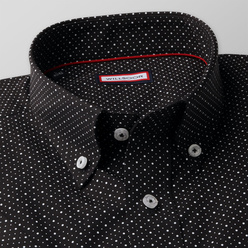 Classic shirt in black with a pattern (height 176-182) 10863, Willsoor