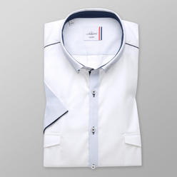 Slim Fit shirt in white with blue elements (height 176-182) 10874, Willsoor