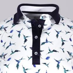 Women's polo t-shirt with hummingbirds print 10881, Willsoor