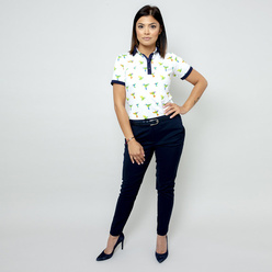 Women's Polo T-shirt with colorful hummingbirds motif 10883