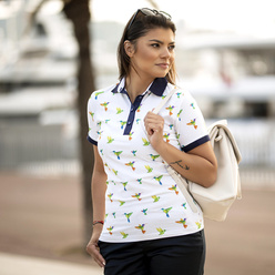 Women's Polo T-shirt with colorful hummingbirds motif 10883, Willsoor