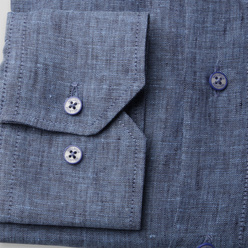 Classic natural linen shirt in blue (height 176-182 and 188-194) 10888, Willsoor
