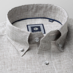 Classic shirt in beige-grey (height 176-182) 10892, Willsoor