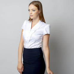 Women's shirt  white color with frills 10904, Willsoor