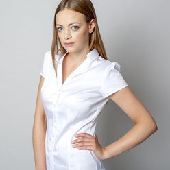 Women's shirt in white color with v-neckline 10905, Willsoor