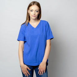 Women's t-shirt in blue with linen addition 10909