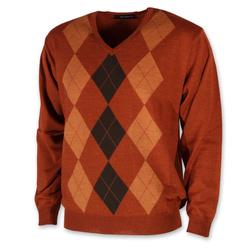 Men's jumperwith brown check pattern 10956, Willsoor