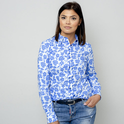 Women's shirt with blue floral pattern 10961