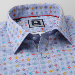 Slim Fit shirt with colorful floral pattern (height 176-182) 11057