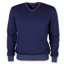 Men's jumper in dark blue color with trim 11091, Willsoor