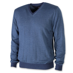 Men's jumper in blue color with trim 11092, Willsoor