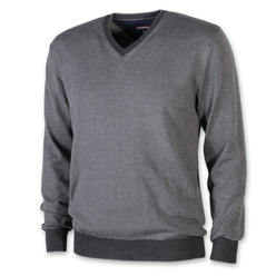 Men's jumper in grey color with trim 11093, Willsoor