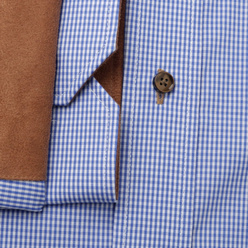 Classic shirt with brown contrast elements (height 176-182) 11095, Willsoor