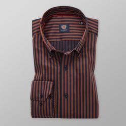 London shirt with dark blue and brown pattern (height 176-182) 11102