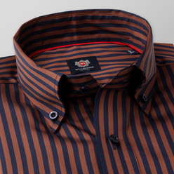 London shirt with dark blue and brown pattern (height 176-182) 11103, Willsoor