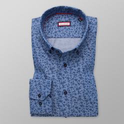Slim Fit shirt with blue floral pattern (height 176-182) 11104, Willsoor