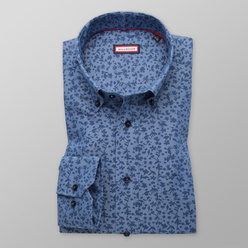 Classic shirt with blue floral pattern (height 176-182) 11105, Willsoor