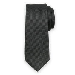 Narrow tie in black color with fine pattern 11121, Willsoor