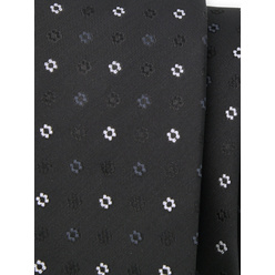 Narrow tie in black color with floral pattern 11124, Willsoor