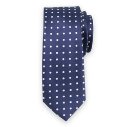 Narrow tie in dark blue color with white pattern 11125, Willsoor