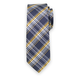 Narrow tie with blue-yellow check pattern 11126, Willsoor