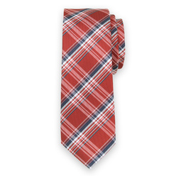 Narrow tie with red-blue check pattern 11127, Willsoor