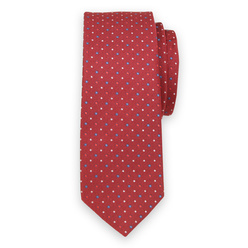Narrow tie in red color with colorful pattern 11130, Willsoor