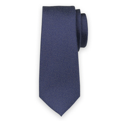 Narrow tie in dark blue color with yellow pattern 11131, Willsoor