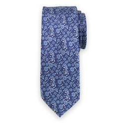 Narrow tie in dark blue color with floral pattern 11134