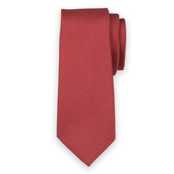 Narrow tie in red color with blue polka dot pattern 11136