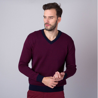 Men's jumper with dark blue trim and fine pattern 11146