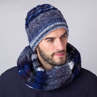 Knitted hat in dark blue-grey 11156, Willsoor